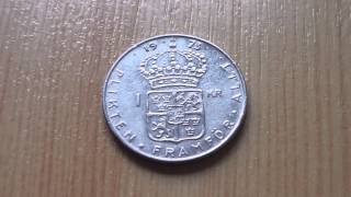 Swedish krona - 1 KR coin from 1973 in HD