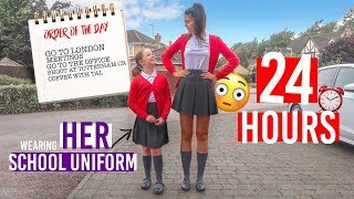 WEARING MY LITTLE SISTER'S SCHOOL UNIFORM FOR 24 HOURS | 24 HOUR CHALLENGE