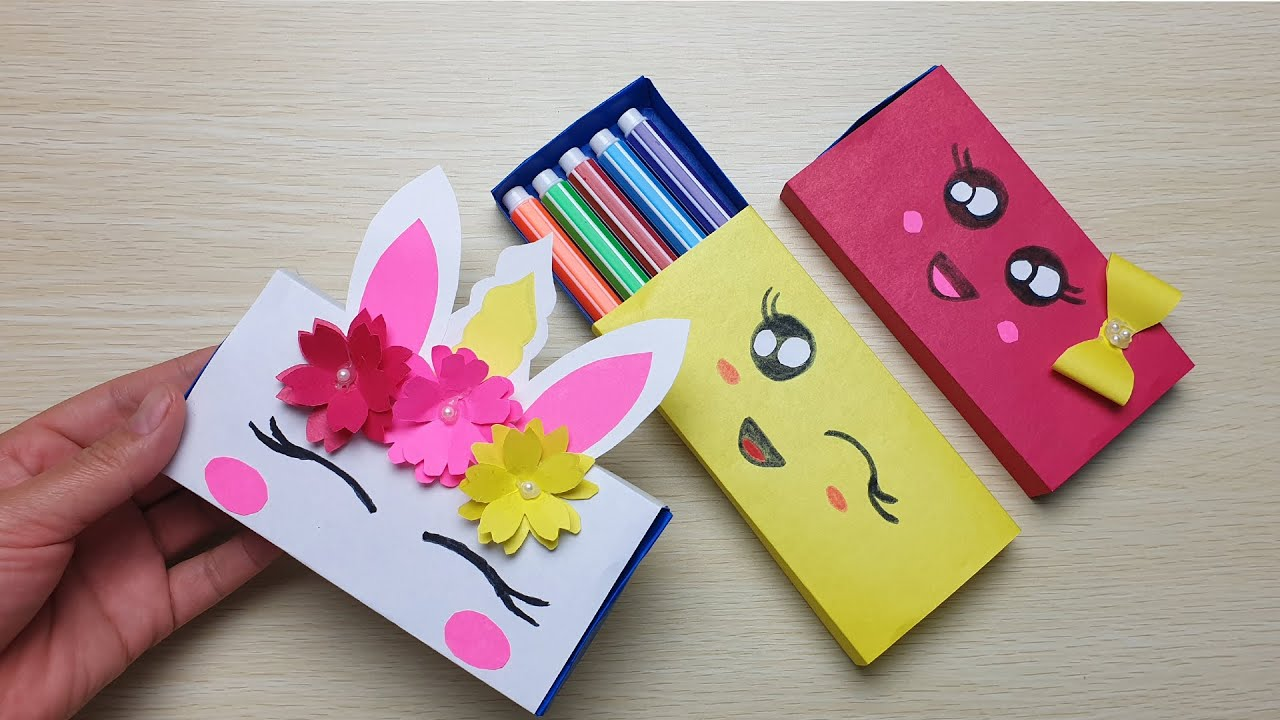 DIY paper pencil box idea | How to make a paper pencil box