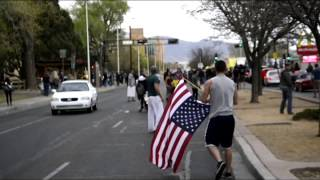 APD Protest: A Marine and Soldier Take Back the Flag from Protesters (Inhabitants of Burque)