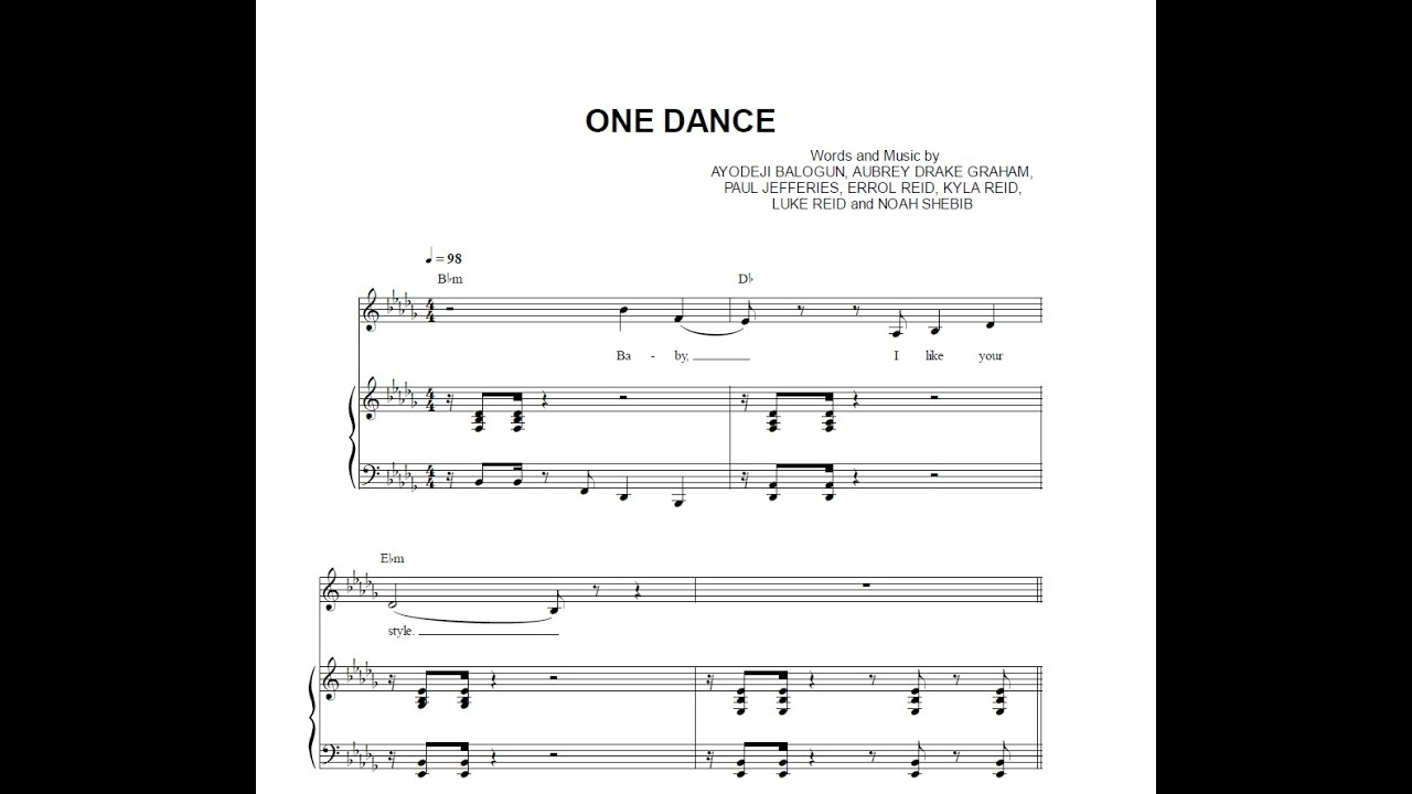 One Dance - Drake (feat. Wizkid & Kyla) [Sheet Music & Midi Download ...