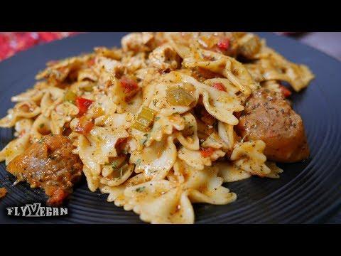 vegan-jambalaya-pasta-(beyond-meat-sausage)