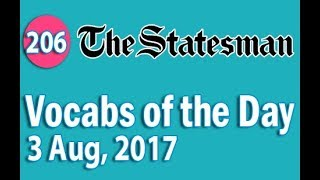 ✅ The Statesman Vocabulary (3 Aug, 2017) - Learn 10 New Words with Tricks | Day-206