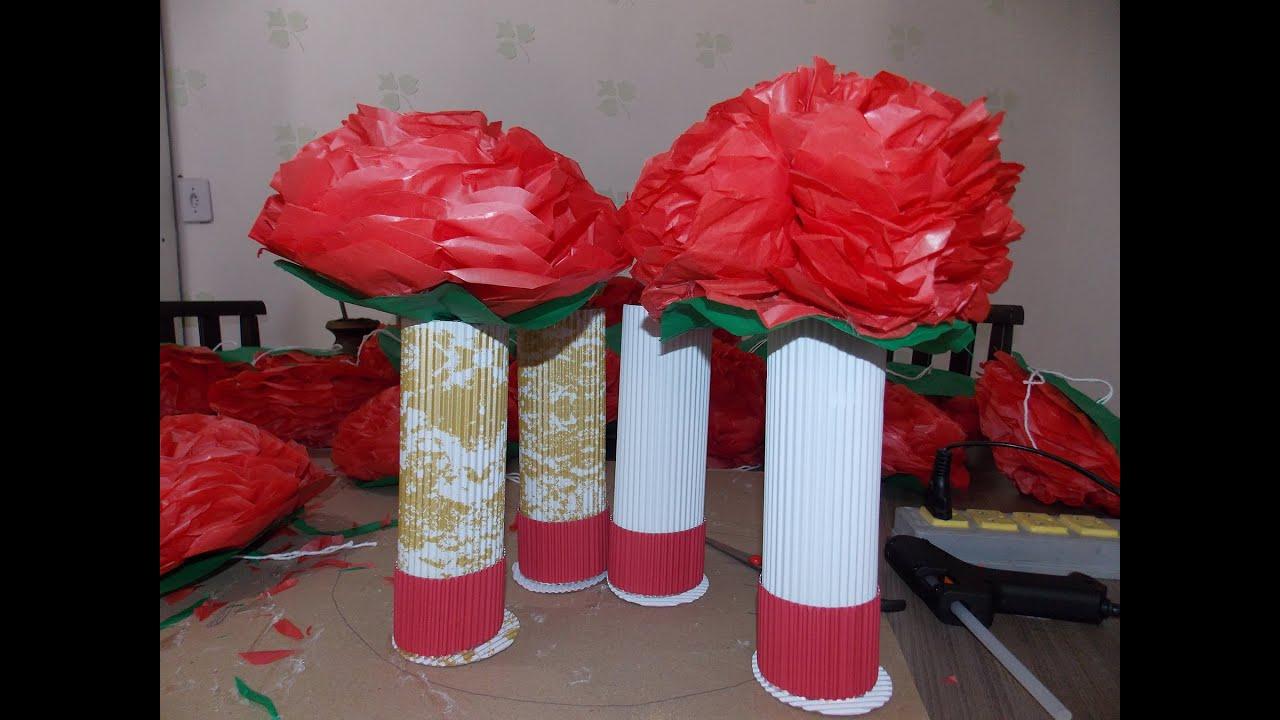 Decoraç u00e3o de mesa como fazer flores de papel seda YouTube -> Decoração De Papel Crepom Como Fazer