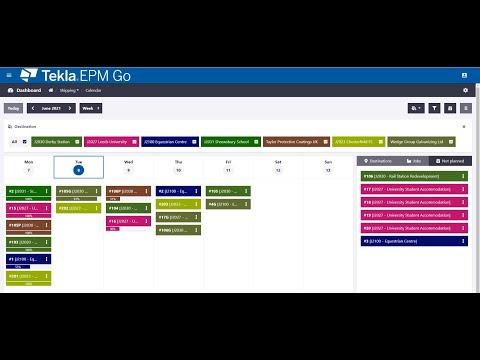 Shipping Calendar in Tekla EPM Go 2021