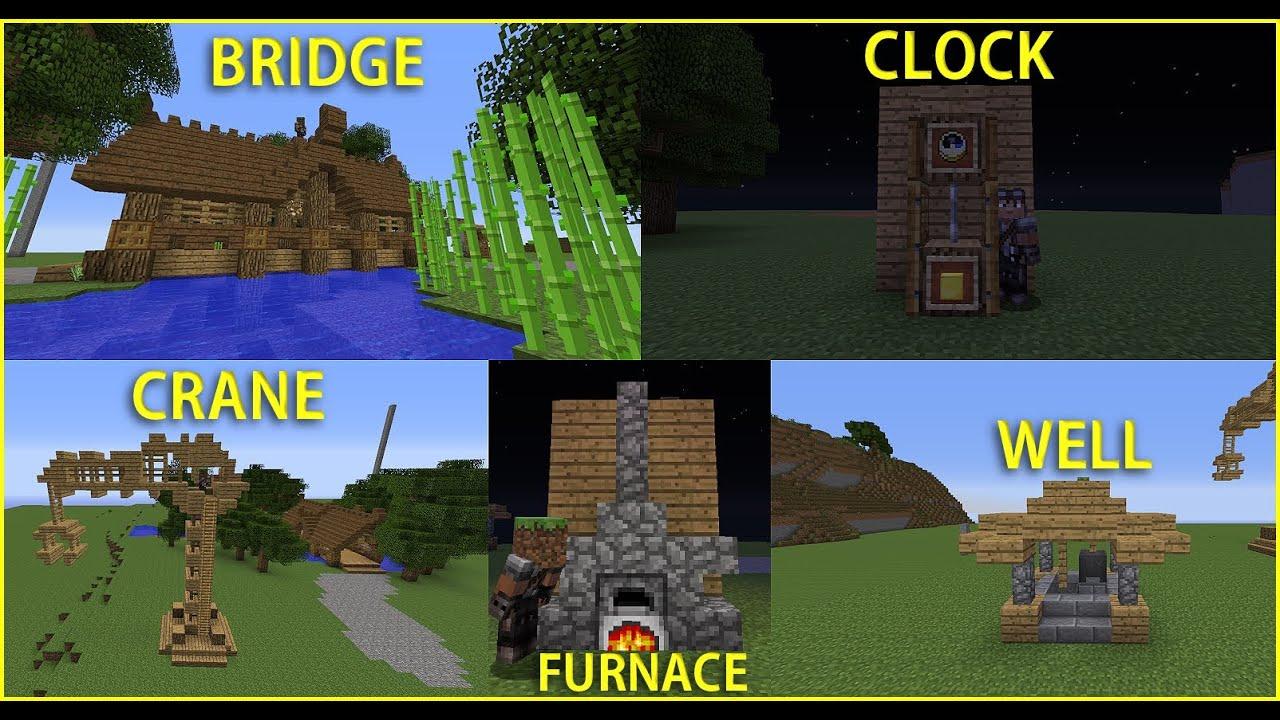 Minecraft Build Tutorial Clock Crane Furnace Well Bridge