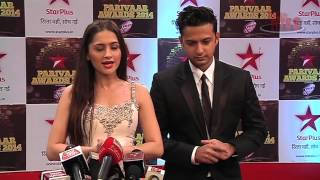 Vatsal and Sanjeeda aka Shaurya and Durga at Star Parivaar Awards 2014