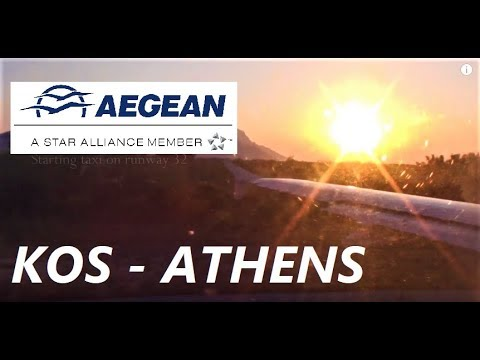 Take off from Hippocrates Airport in Kos ✈Aegean Airlines A320 ,Greece