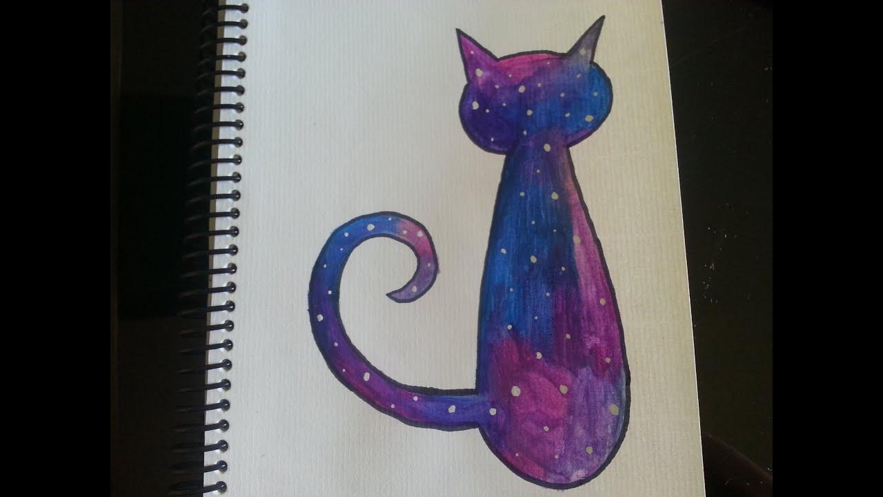 Como dibujar/pintar galaxia en un gato - Dibujando - YouTube