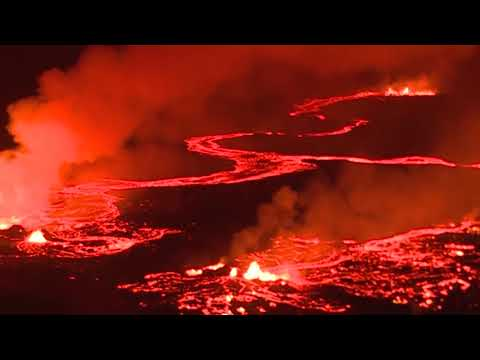 Red Lava Rivers From Hawaii's Kilauea Volcano - Aerial Views