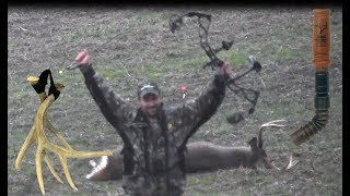 Public Land Whitetail Deer Bow Hunt in IL - Calling, Grunting, Rattling Big Bucks - Spine Shot