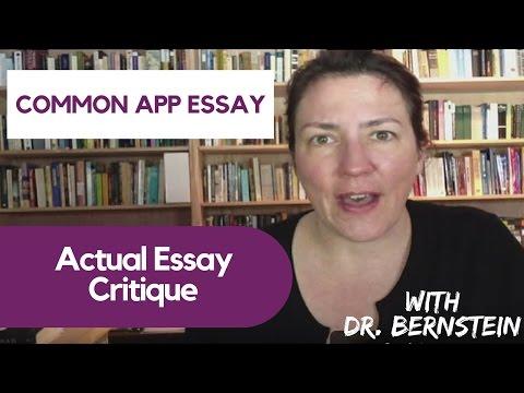 Common App Essay Critiqued by Dr. Bernstein