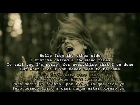 Adele Hello Espanol E Ingles English Spanish Lyrics Youtube