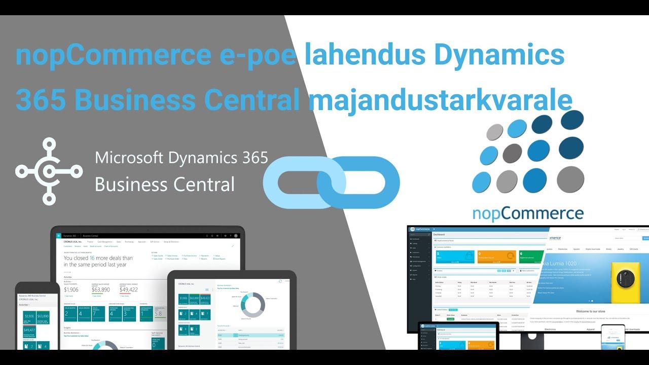 nopCommerce e poe lahendus Dynamics 365 Business Central majandustarkvarale