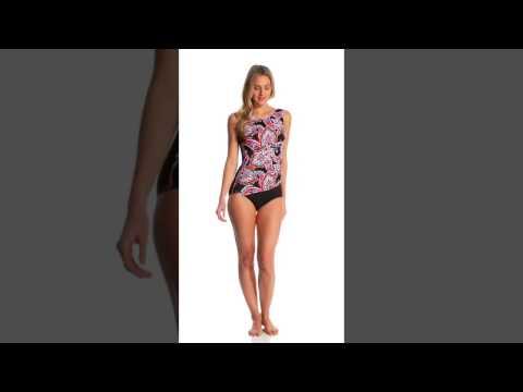 T.H.E Paisley Park Mastectomy Printed Drape One Piece Swimsuit | SwimOutlet.com
