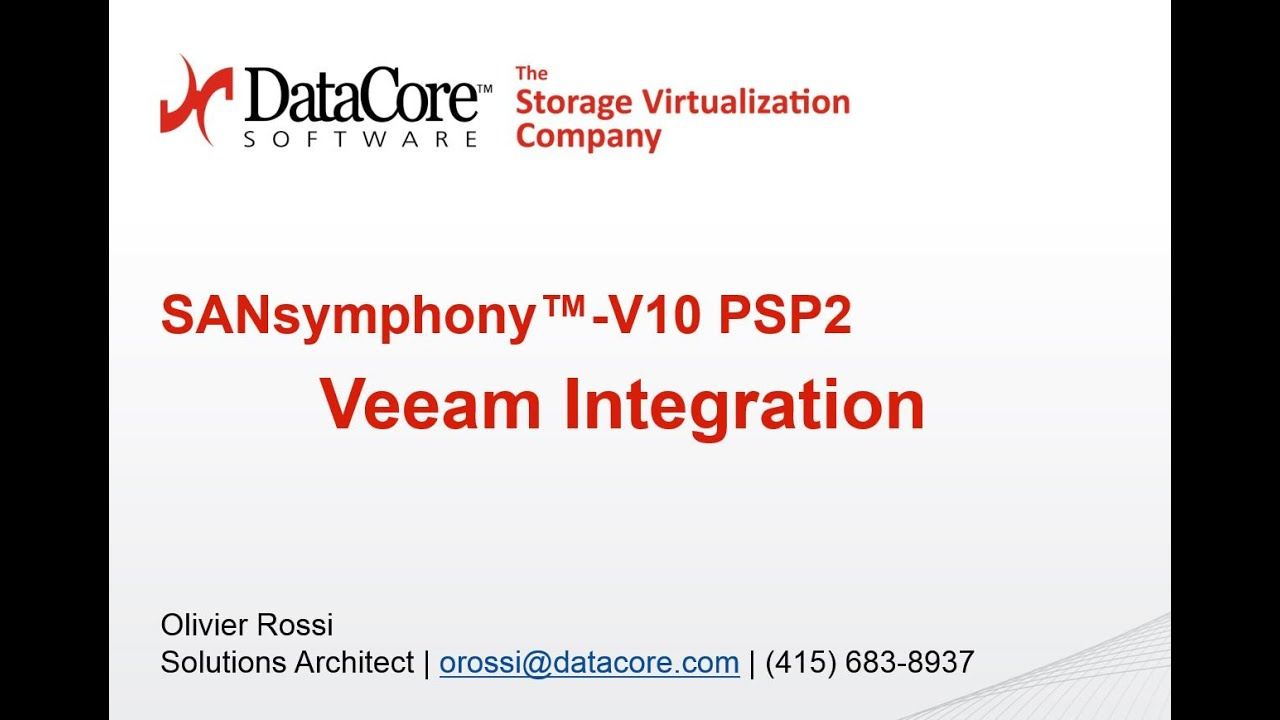 DataCore Webinar Series: Veeam Backup Integration