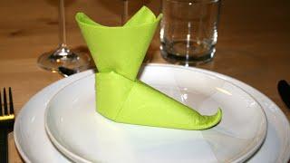 Origami - Serviette botte de lutin - Pixie Boots [Senbazuru]