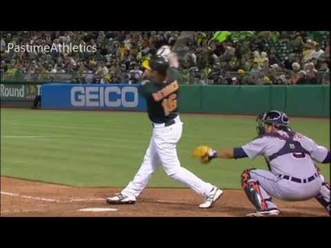 Josh Reddick Hitting Slow Motion Home Run - Oakland Athletics MLB Baseball Swing Beard