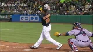 Josh Reddick Hitting Slow Motion Home Run - Oakland Athletics MLB Baseball Swing Beard