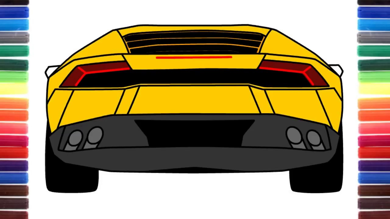 How To Draw A Car Lamborghini Huracan Back View Youtube