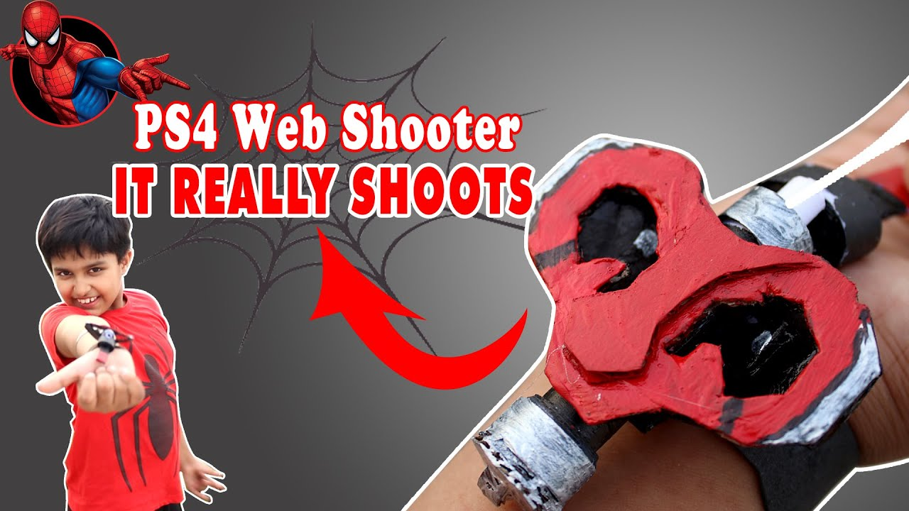 How to make Spiderman PS4 Web shooter that REALLY SHOOTS! | Easy cardboard functional web shooter