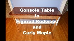 Console Table in figured redwood and curly maple