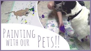 Painting with our PETS! Ft. My Sister, Dessi the Dog, and Indie the Bearded Dragon!