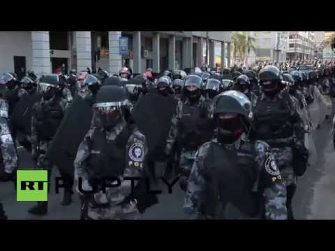 Brazil:  Police fire stun grenades at Anti-World Cup protesters