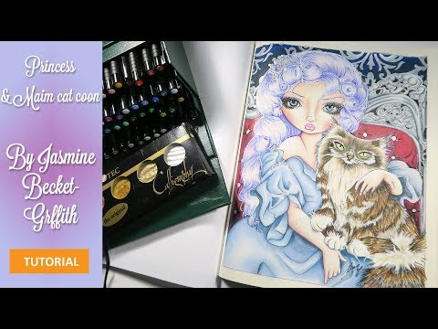 {-adult-coloring-tutorial}-coloring-cats-and-pearls:-princess-with-a-maine-coon-cat