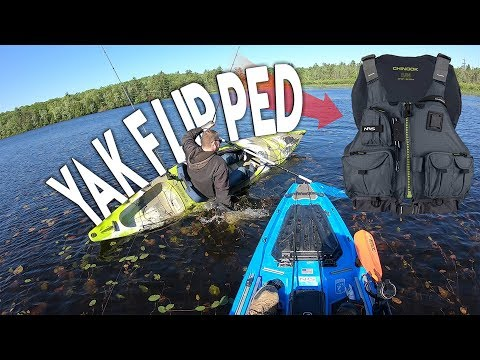 Fisherman Flips Kayak In COLD Water - How Much Do We Rescue?! - Bonafide SS127 Stability