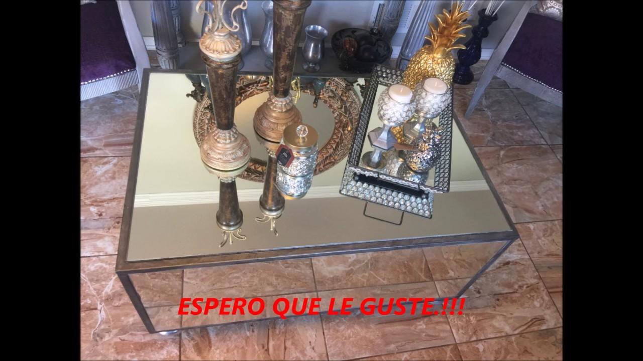 DIY MIRRORED COFFE TABLE . MESA DE ESPEJO. - YouTube