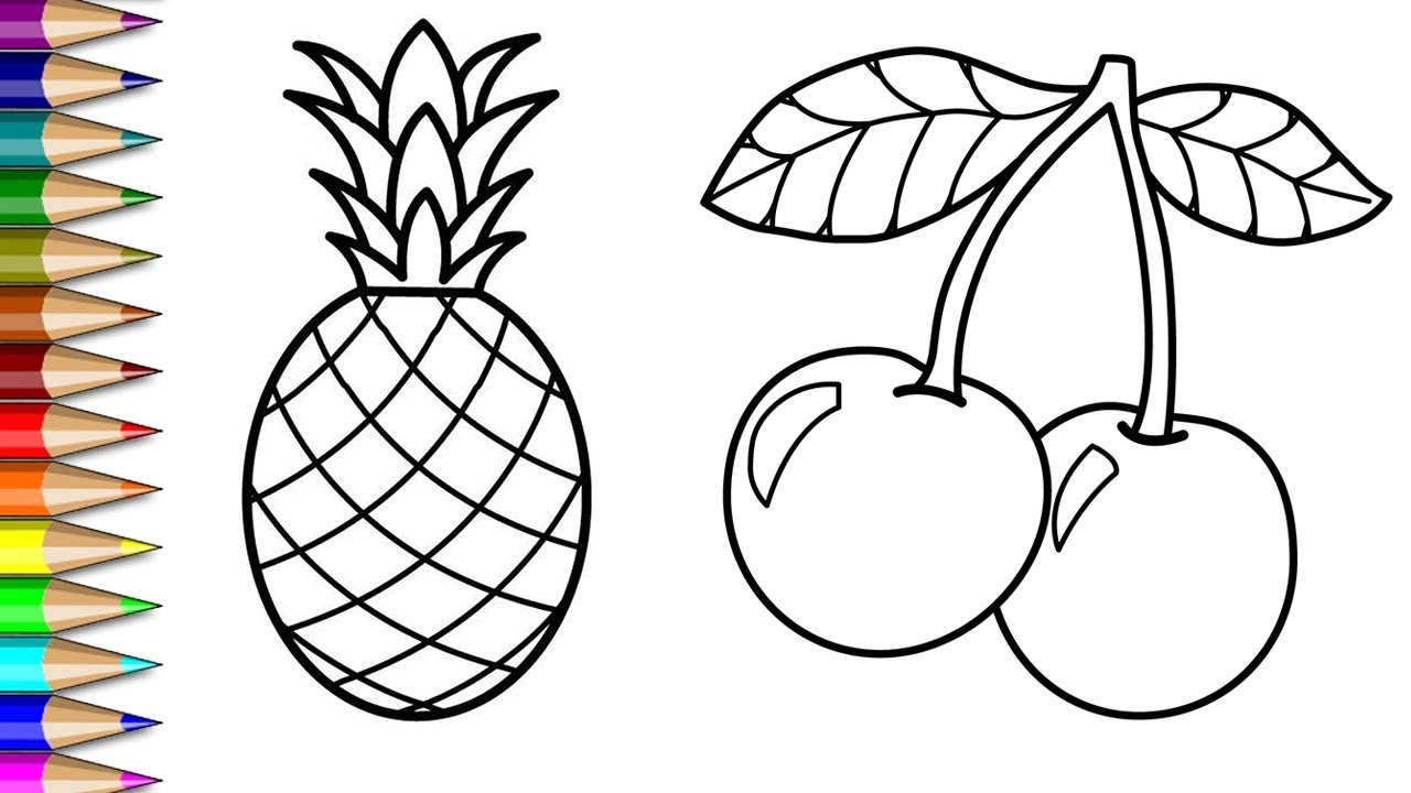 Mewarnai Buah Buahan Nanas Dan Cherry Menggambar Dan Mewarnai Buah Untuk Anak Anak