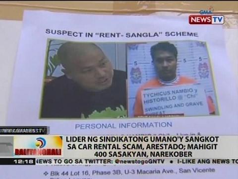 BT: Lider ng sindikatong umano'y sangkot sa car rental scam, arestado