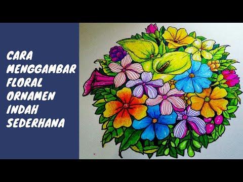 Cara Menggambar Dan Mewarnai Bunga Hias Warna Warni Sederhana Dengan
