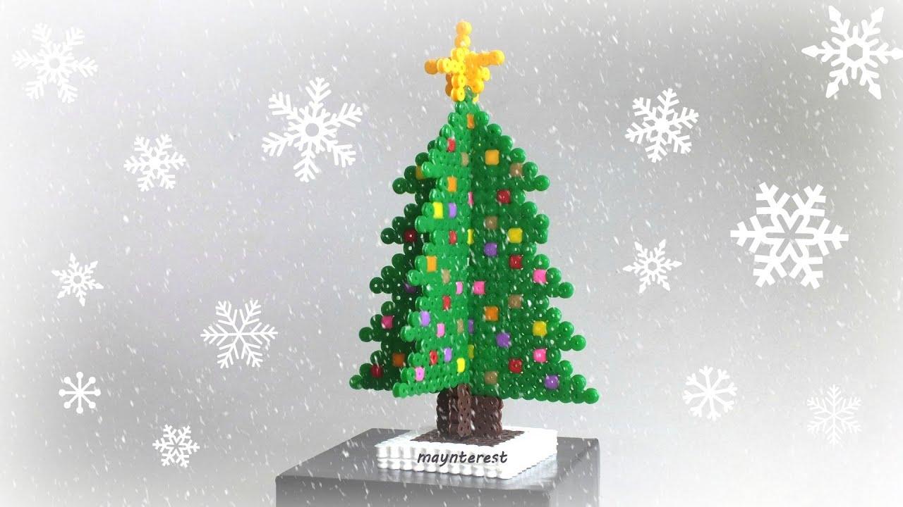 Manualidades navidad pino o rbol de navidad 3d de hama - Arboles de navidenos ...