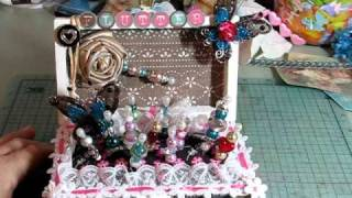 Altered Wood Box Stick Pin Cushion Embellished Project - CUTE!