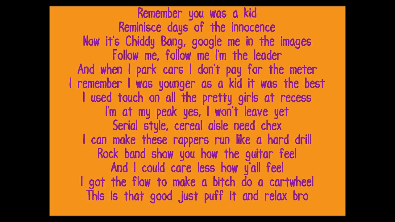 Chiddy bang opposite of adults lyricss