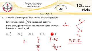12.Sınıf MEB Okul Kursu Fizik K.K.Testi 20 (Modern Fizik-4)