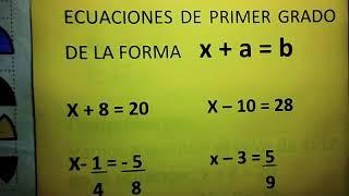 ECUACIONES DE PRIMER GRADO DE LA FORMA   x+a=b  CON  FRACCIONES