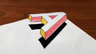 How To Drawing 3D Floating Letter