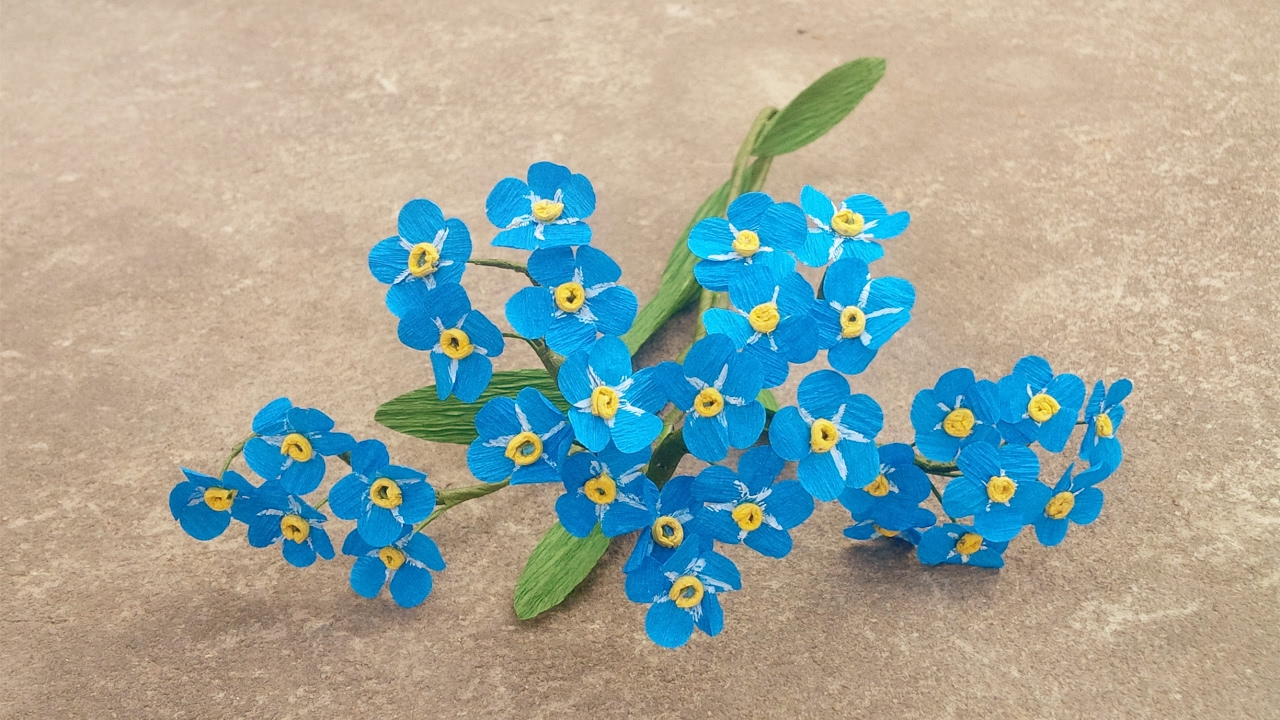 How to make forget me not paper flower craft tutorial youtube how to make forget me not paper flower craft tutorial ccuart Image collections