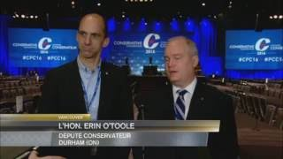 Media Scrum at Conservative Party Convention 2016