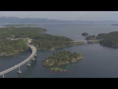 Leirvik, bostadsplattform, Stordabrua, Bømlabrua, Trekantsambandet - Flying Over Norway