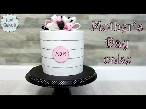 Mother's Day Cake Tutorial! Pink, Black And White Cake