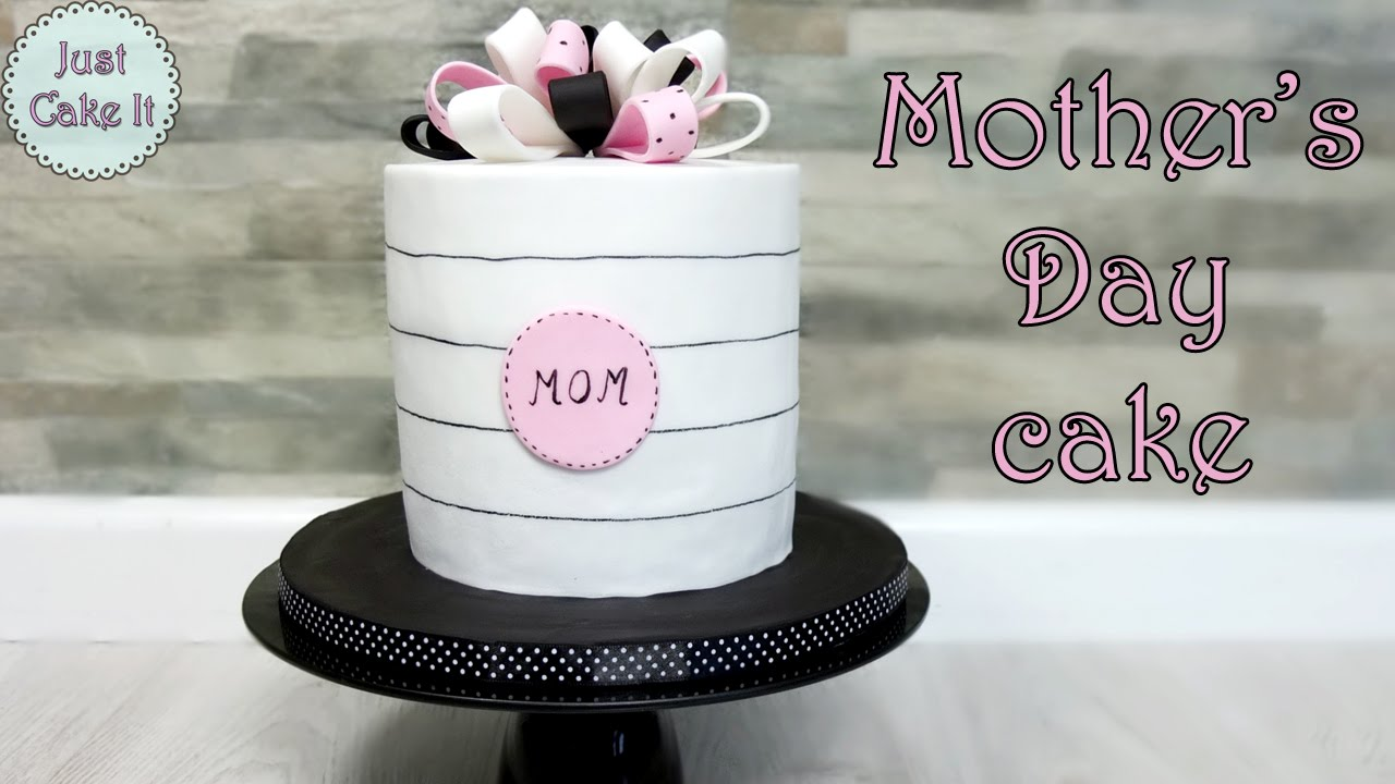 Mothers Day cake tutorial Pink black and white cake YouTube