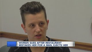 Woman sues restaurant after being mistaken for man(A local woman is suing Fishbones restaurant after being mistaken for a man and then ejected when she used the restroom. ◂ WXYZ 7 Action News is metro ..., 2015-06-12T22:15:46.000Z)