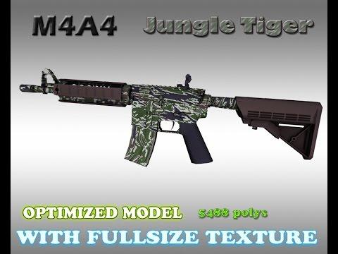 CS:GO M4A4 Jungle Tiger HD Skin For CS 1.6