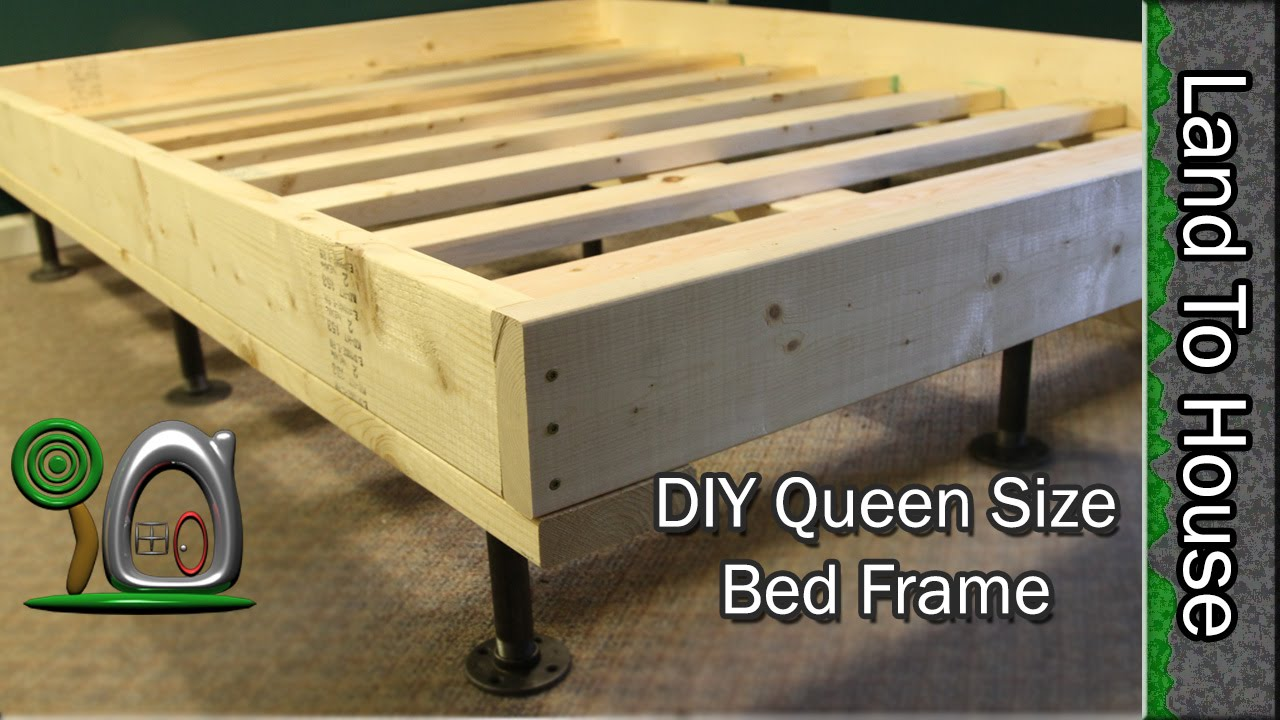 Queen Size Bed Frame Diy Youtube