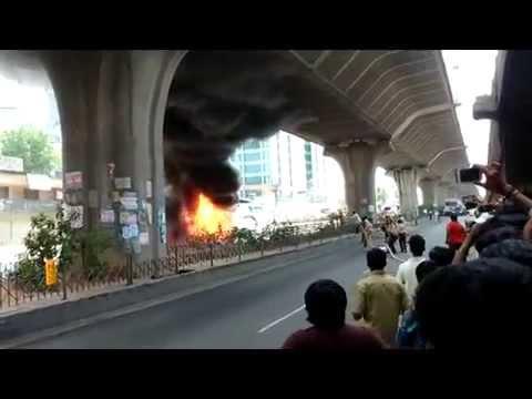 LPG Van Caught Fire - Electronic City Bangalore Highway