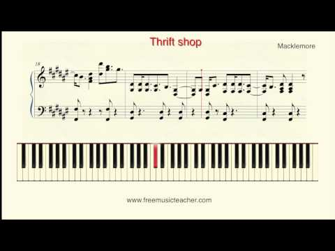 "How To Play Piano: ""Thrift shop"" Macklemore Piano Tutorial by Ramin Yousefi"